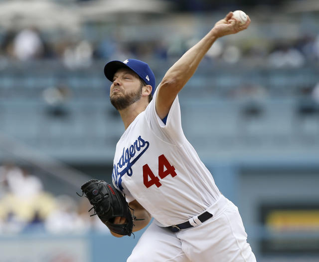Los Angeles Dodgers starting pitcher Rich Hill delivers to a Pittsburgh Pirates batter during the first inning of a baseball game in Los Angeles, Sunday, April 28, 2019. (AP Photo/Alex Gallardo)