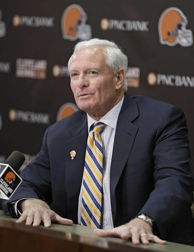 Cleveland Browns owner Jimmy Haslam answers questions during a news conference Tuesday, Feb. 11, 2014, in Berea, Ohio. Haslam announced Tuesday that CEO Joe Banner will step down in the next two months and general manager Michael Lombardi is leaving the team. It's yet another stunning development for a franchise that has undergone nearly constant change in the past 15 years. (AP Photo/Tony Dejak)