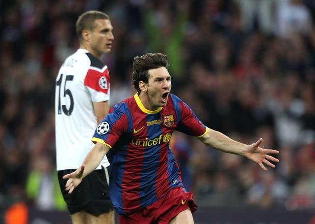Lionel Messi celebrates scoring Barcelona's second goal in the 2011 Champions League final