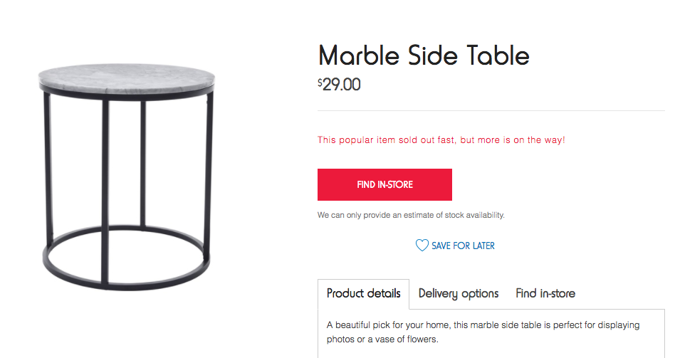 Kmart's new side table is the new cult buy. Photo: kmart.com.au