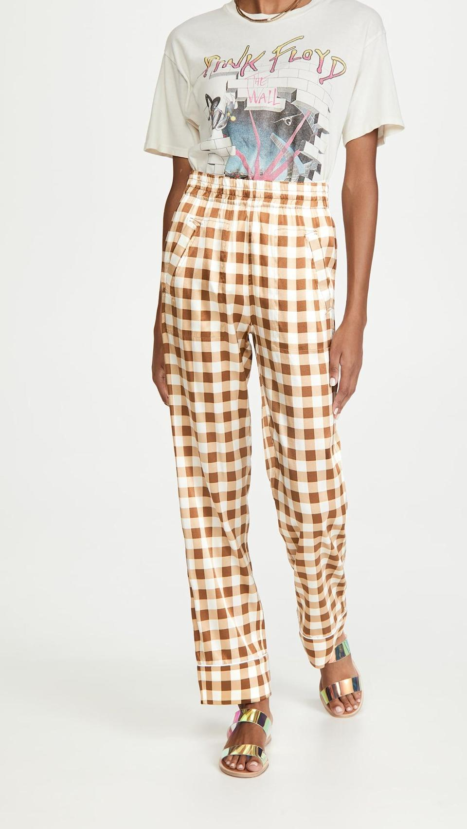 "<p>""These <span>Ganni Trousers</span> ($375) are as silky as your favorite pair of pajamas and although they can be dressy, the pattern works for daytime too.""</p>"
