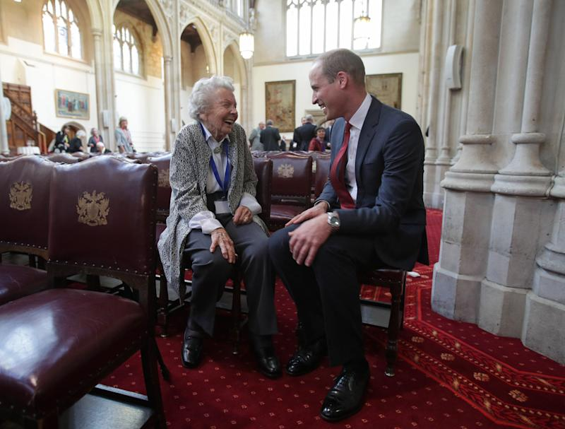 On Wednesday, Prince William attended an awards ceremony and reception for the Metropolitan and City Police Orphans Fund, where he spoke to 98-year-old Iris Orrell. (PA Wire/PA Images)