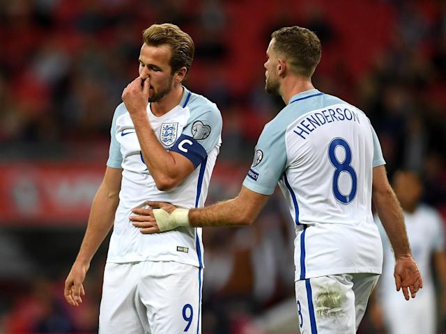 Jordan Henderson (right) missed out on the England captaincy to Harry Kane (left): Getty
