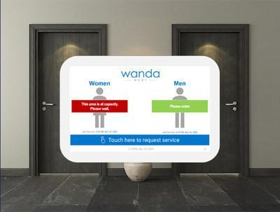 WandaNEXT™ digital cleaning management system's new occupancy sensing feature displays a message on its screen advising whether the area is at capacity based on pre-established occupancy protocols and physical distancing requirements. (CNW Group/Bunzl Canada)
