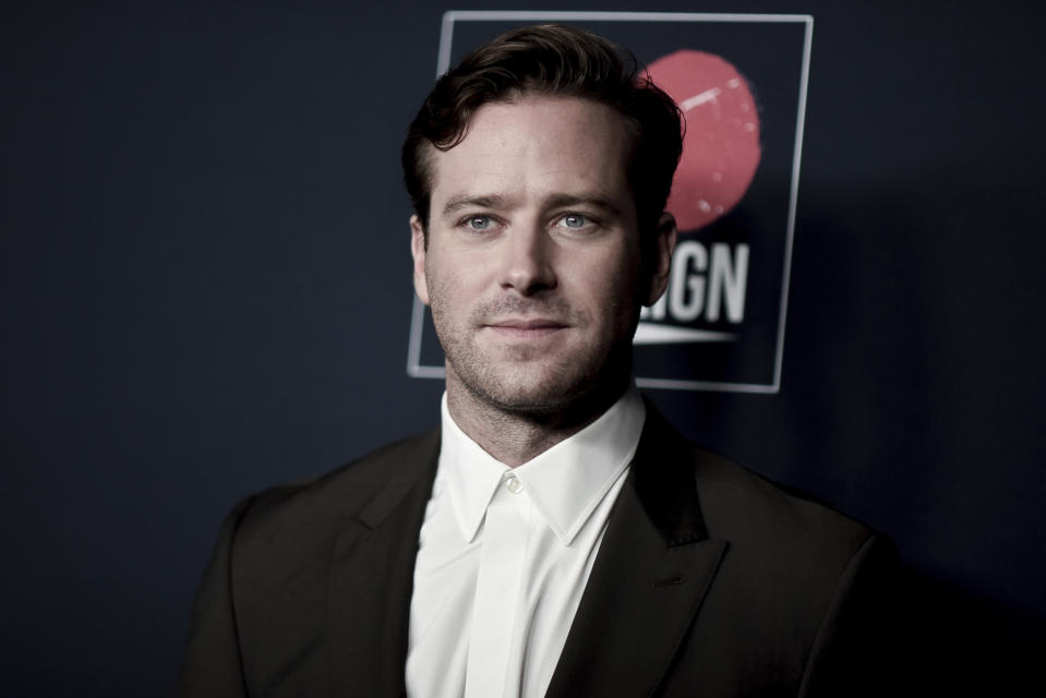 Armie Hammer attends the 13th Annual Go Gala at NeueHouse Hollywood on Saturday, Nov. 16, 2019, in Los Angeles. (Photo by Richard Shotwell/Invision/AP)