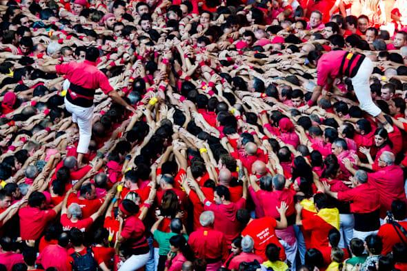 Human Towers Are Built In The 25th Tarragona Castells Competition