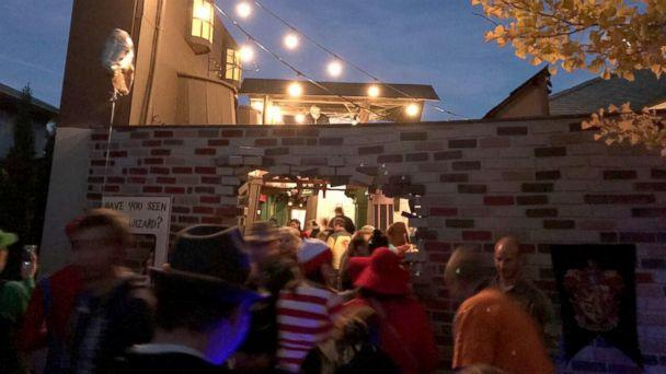 PHOTO: On Halloween night, hundreds of children and adults entered through a magic brick wall to see the spellbinding setup. (Jon Chambers)