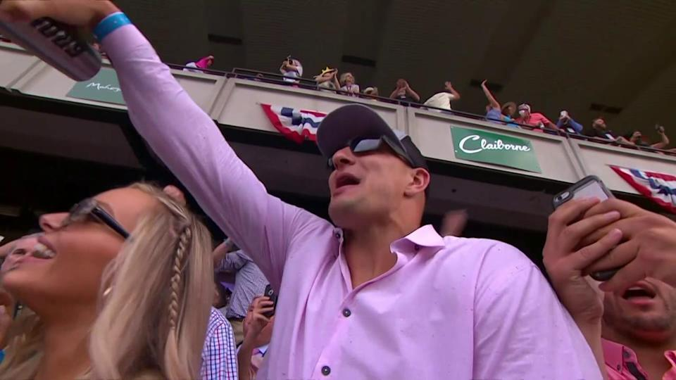 Patriots tight end Rob Grokowski got a thrill watching Gronkowski the horse rally from last to challenge Justify at Saturday's Belmont Stakes. (NBC)
