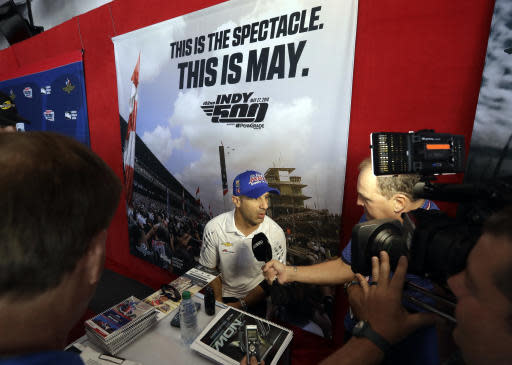 Tony Kanaan, of Brazil, speaks during a media availability for the IndyCar Indianapolis 500 auto race at Indianapolis Motor Speedway in Indianapolis, Thursday, May 24, 2018. (AP Photo/Darron Cummings)