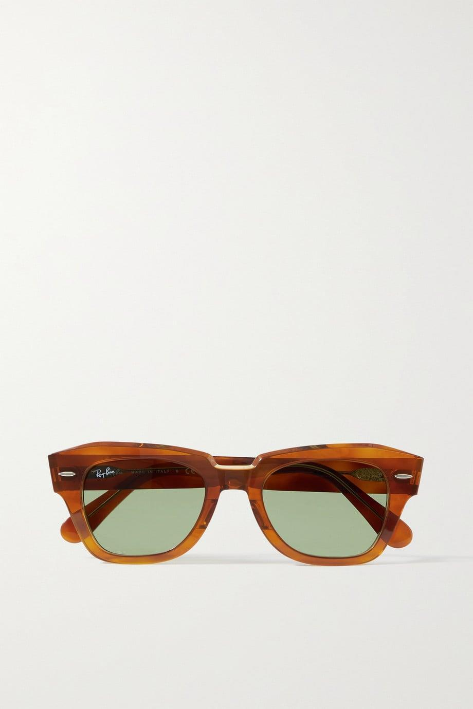 <p>Square sunglasses are back. We are loving these softer shades of brown and caramel for summer. </p><p><span>Light brown State Street square-frame acetate sunglasses</span> ($165).</p>