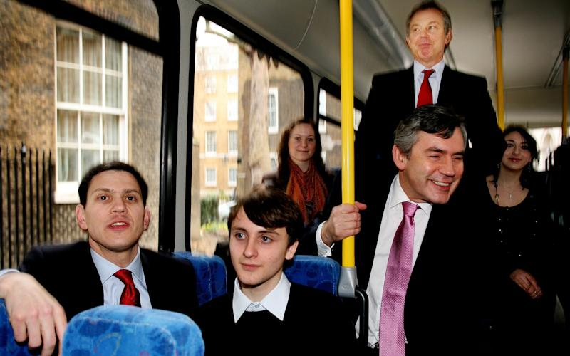 Pictured: Former Prime Minister Tony Blair and his successor Gordon Brown pictured on a school bus in 2007