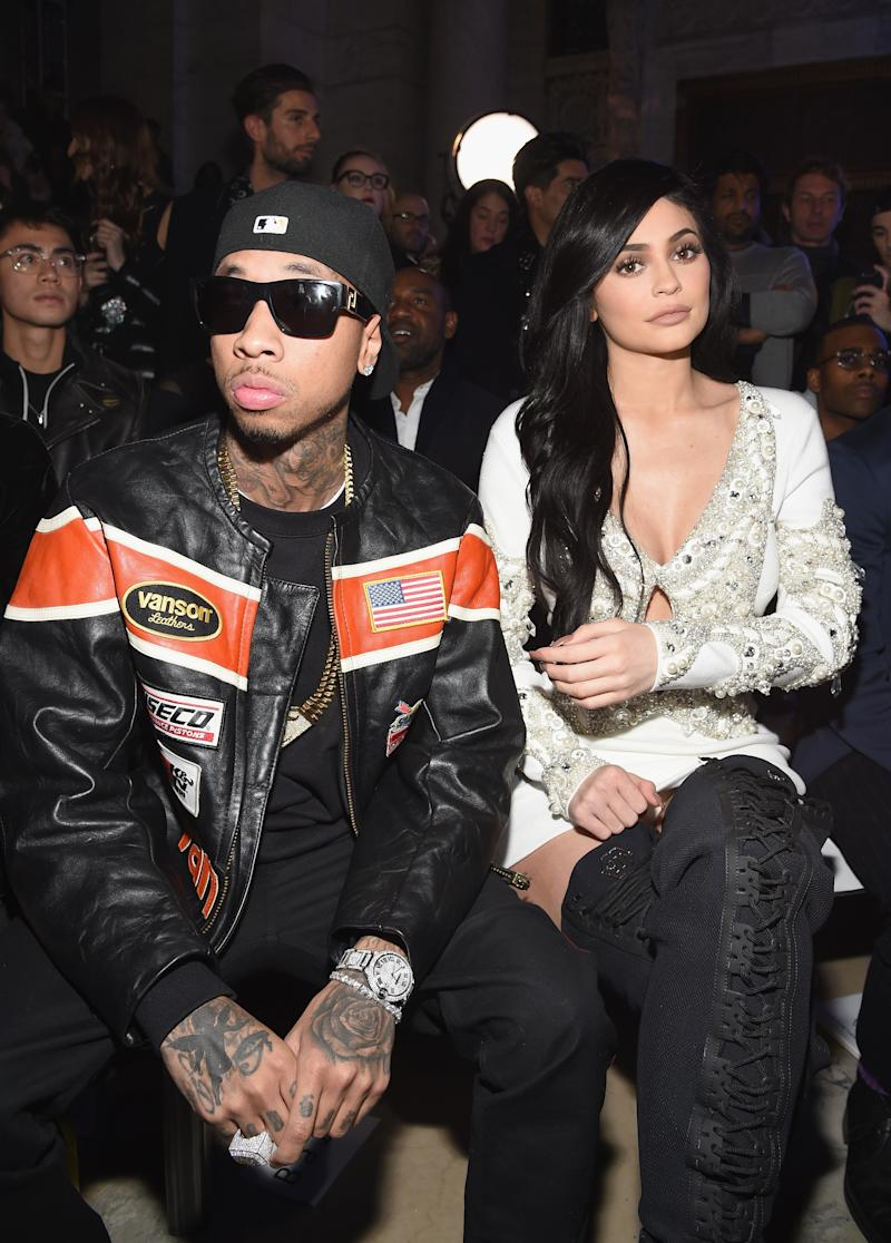 Tyga and Kylie Jenner attend the Front Row for the Philipp Plein Fall/Winter 2017/2018 Women's And Men's Fashion Show at The New York Public Library on February 13, 2017 in New York City. Photo courtesy of Getty Images.