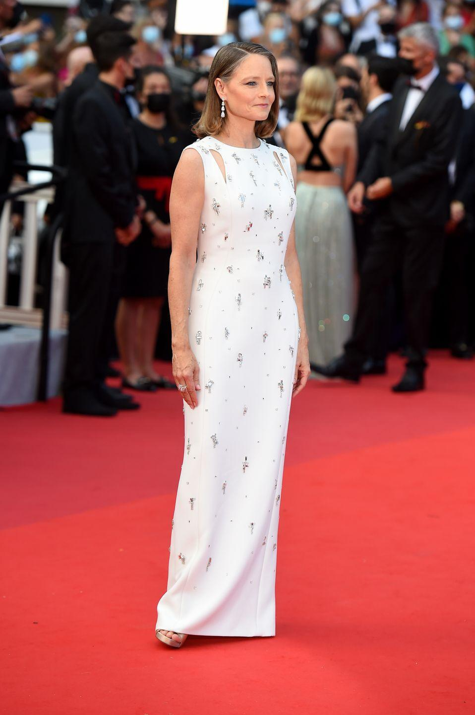 <p>Jodie Foster, recipient of this year's prestigious Lifetime Achievement Award, arrived wearing a column dress covered in delicate embellishments. </p>