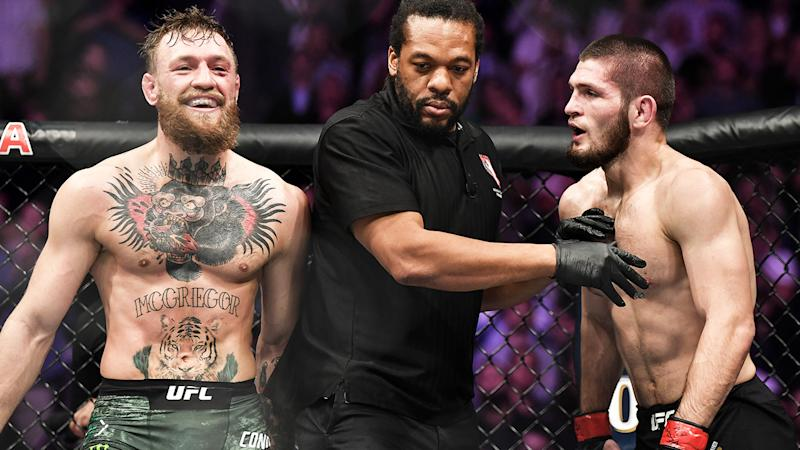 Conor McGregor and Khabib Nurmagomedov, pictured here during their fight at UFC 229 in 2018.