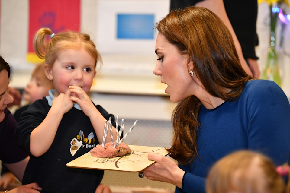 BALLYMENA, NORTHERN IRELAND - FEBRUARY 28: Catherine, Duchess of Cambridge meets service users during a visit St Joseph's SureStart Facility on February 28, 2019 in Ballymena, Northern Ireland. Prince William last visited Belfast in October 2017 without his wife, Catherine, Duchess of Cambridge, who was then pregnant with the couple's third child. This time they concentrate on the young people of Northern Ireland. Their engagements include a visit to Windsor Park Stadium, home of the Irish Football Association, activities at the Roscor Youth Village in Fermanagh, a party at the Belfast Empire Hall, Cinemagic -a charity that uses film, television and digital technologies to inspire young people and finally dropping in on a SureStart early years programme (Photo by Pool/Samir Hussein/WireImage)