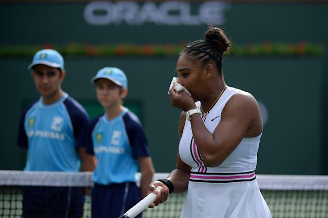 Serena Williams retired from the BNP Paribas Open due to a viral illness. (AP Photo/Mark J. Terrill)