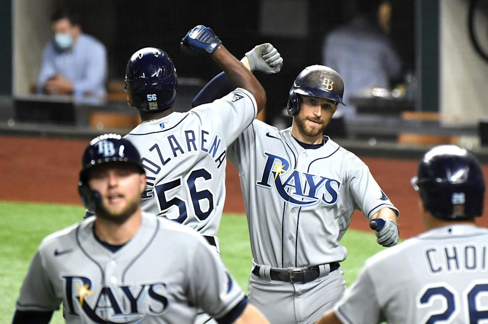 Rays Brandon Lowe celebrates is home run against the Dodgers in Game 2 of the World Series.