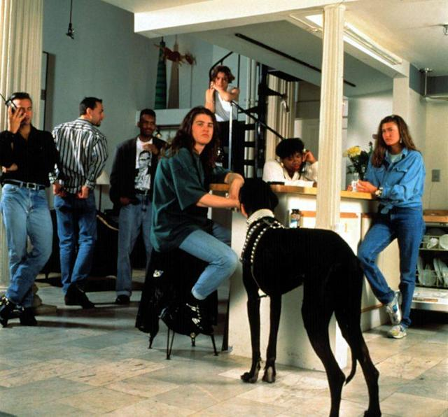 Season 1 cast of <em>The Real World</em>, 1992. From left: Eric, Norman, Kevin, Andre, Becky, Heather B., Julie, Gouda (dog). (Photo credit: MTV / Courtesy: Everett Collection)