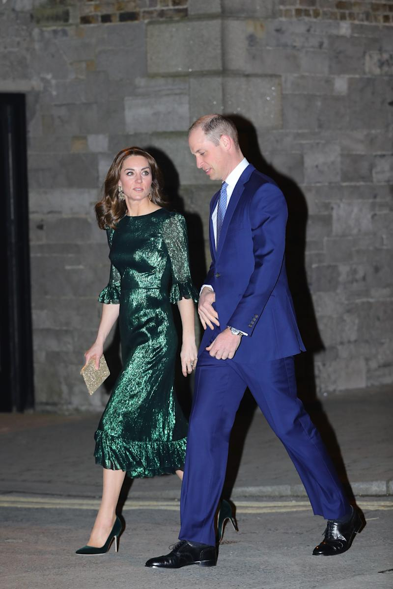 The Duke and Duchess of Cambridge arrive for a reception hosted by the British Ambassador to Ireland at the Gravity Bar, Guinness Storehouse, Dublin, during their three day visit to the Republic of Ireland.