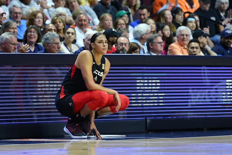 UNCASVILLE, CT - AUGUST 23: Las Vegas AcesLiz Cambage is not expected to play in the WNBA season in Florida due to health reasons related to the coronavirus pandemic. center Liz Cambage (8) waits to enter the game during a WNBA game between Las Vegas Aces and Connecticut Sun on August 23, 2019, at Mohegan Sun Arena in Uncasville, CT. (Photo by M. Anthony Nesmith/Icon Sportswire via Getty Images)