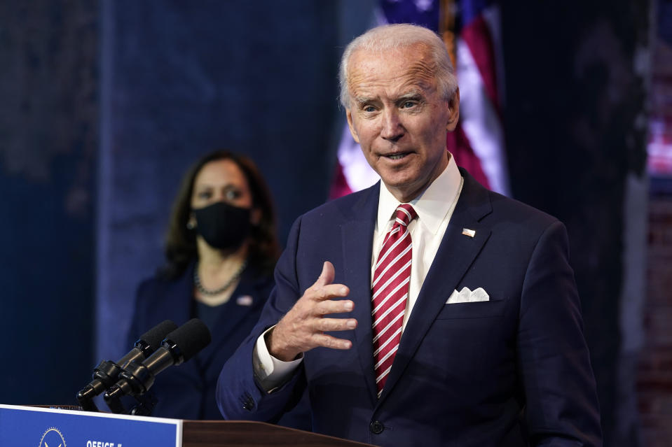 President-elect Joe Biden, accompanied by Vice President-elect Kamala Harris, speaks at The Queen theater on Nov. 16, 2020, in Wilmington, Del. (Andrew Harnik/AP)