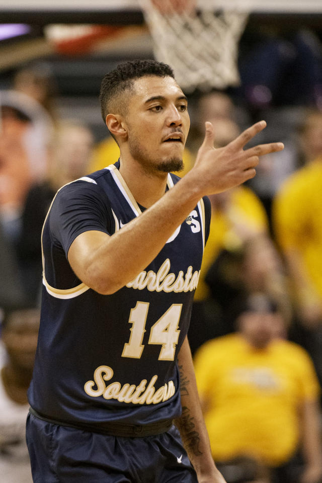 Charleston Southern's Duncan LeXander celebrates a three point basket during the second half of an NCAA college basketball game against Missouri Tuesday, Dec. 3, 2019, in Columbia, Mo. Charleston Southern won the game 68-60. (AP Photo/L.G. Patterson)