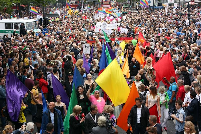 Participants attend the Gay Pride parade in Berlin on June 27, 2015 (AFP Photo/Adam Berry)