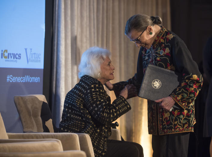 Supreme Court Justice Ruth Bader Ginsburg with retired Justice Sandra Day O'Connor at the Seneca Women Global Leadership Forum in Washington. (Photo: Kevin Wolf/Invision for Seneca Women/AP)
