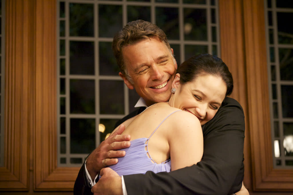 "John Schneider as Jim Cryer and Jaclyn Betham as Amanda Cryer in ""The Haves and the Have Nots"" episode, ""The Big Surprise."""