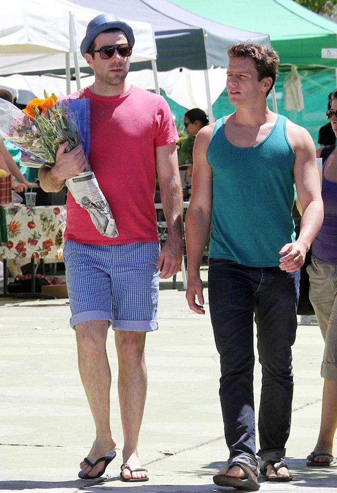 Zachary Quinto and boyfriend Jonathan Groff buy flowers together at a farmers market in Los Angeles