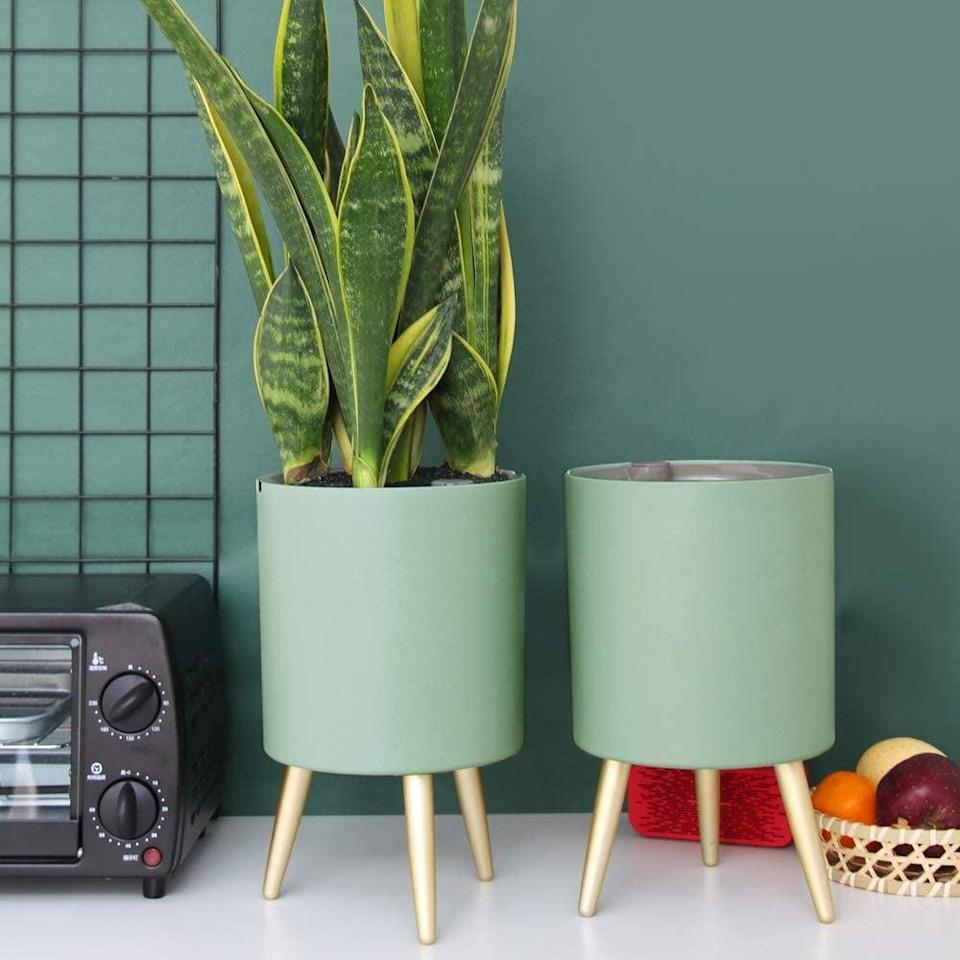 <p>We love the green shade of these <span>Mudeela Planter Pots</span> ($22 each, originally $30), which also include the stand.</p>