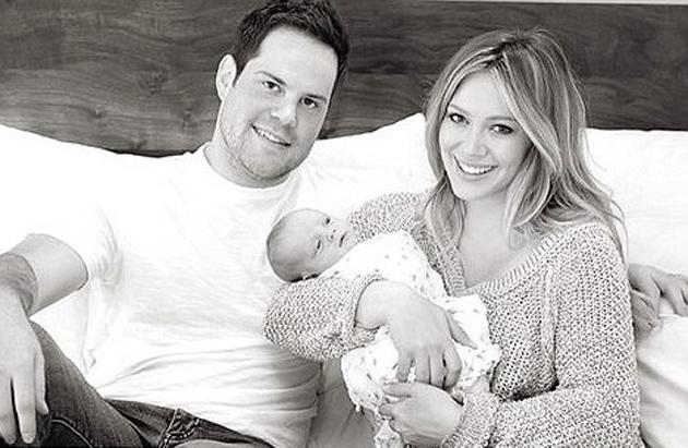 Celebrity photos: Hilary Duff gave birth to her first baby, little Luca, a month ago. This is the first snap of the whole family. All together now – aww.