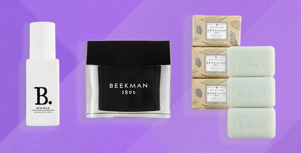 Beekman 1802 uses goat milk in moisturizers, soaps, sunscreen, serums and more. (Photo: Beekman 1802)