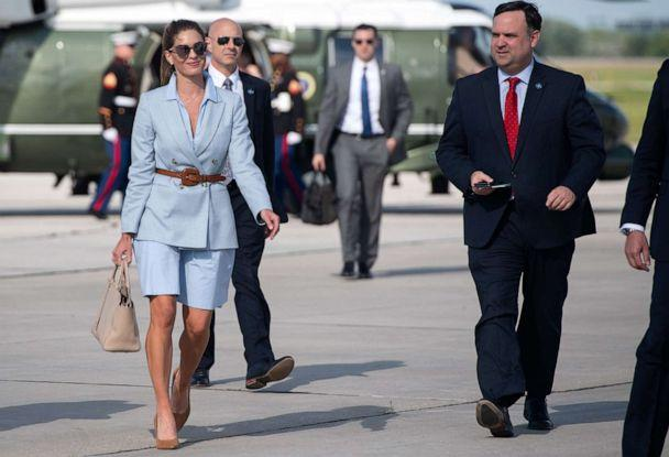 PHOTO: Counselor to the President Hope Hicks, left, and White House social media director Dan Scavino, right, arrive to board Air Force One in Green Bay, Wisconsin, June 25, 2020. (Saul Loeb/AFP via Getty Images)