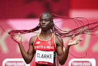 <p>Amya Clarke of Saint Kitts and Nevis prepares to compete during round one of the women's 100m heats on July 30.</p>