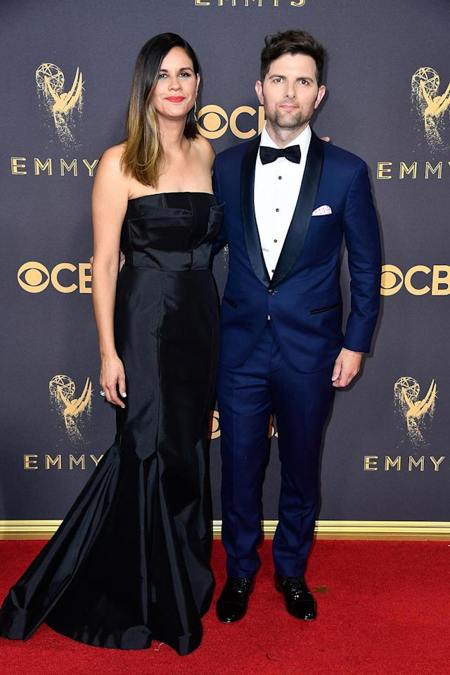 <p>Naomi Scott and actor Adam Scott attend the 69th Annual Primetime Emmy Awards on September 17, 2017.<br> (Photo: Getty Images) </p>