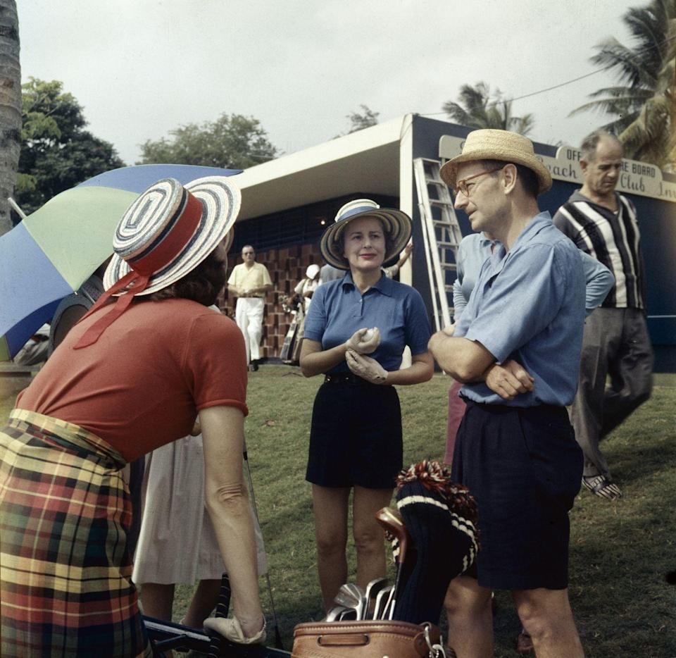<p>Laurence Rockefeller speaks with guests at his resort, the Dorado Beach Hotel in Dorado, Puerto Rico. </p><p>Other celebrity visitors this year: Eleanor Roosevelt.</p>