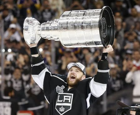 Los Angeles Kings' Marian Gaborik celebrates with the Stanley Cup after NHL Stanley Cup Finals in Los Angeles