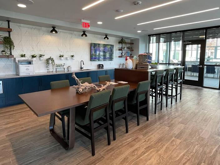 Residents can work or unwind in the common spaces at The Ellis.