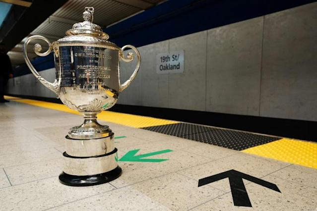 The PGA Championship's Wanamker Trophy is displayed at San Francisco's 19th Street BART Station in February. The tournament scheduled for May 14-17 at San Francisco's Harding Park, has been postponed because of coronavirus concerns (AFP Photo/Daniel Shirey)