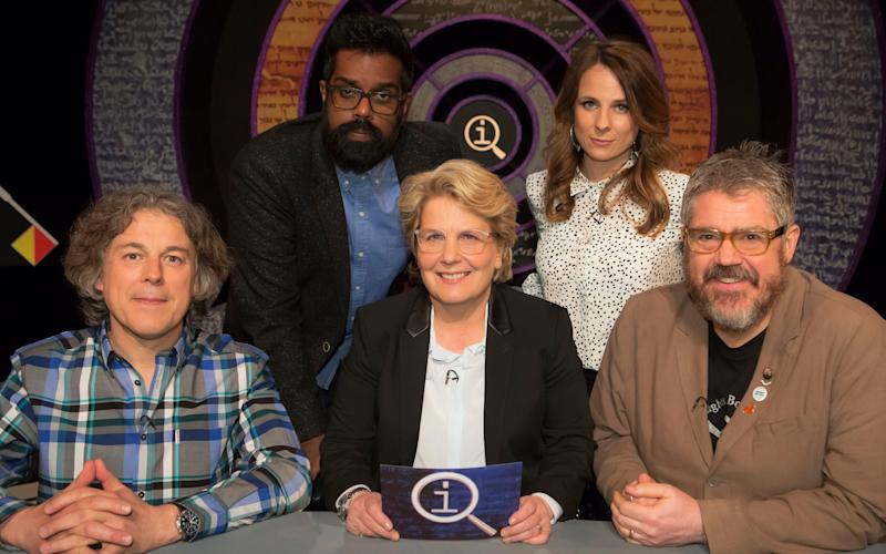 Sandi Toksvig and the QI contestants - WARNING: Use of this copyright image is subject to the terms of use of BBC Pictures' Digital Picture Service (BBC Pictures) as set out at www.bbcpictures.co.uk. In particular, this image may only be published by a registered User of BBC Pictures for editorial use for the purpose of publicising the relevant BBC programme, personnel or activity during the Publicity Period which ends three review weeks following the date of transmission and provided the BBC and the copyright holder in the caption are credited. For any other purpose whatsoever, including advertising and commercial, prior written approval from the copyright holder will be required.
