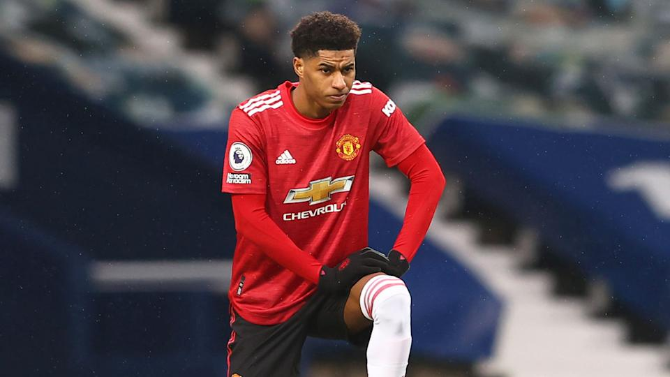 Seen here, Marcus Rashford takes a knee during a match for Manchester Uinted.