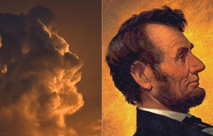 """A Russian photographer spotted this unusual cloud formation in the sky near his house. """"I grabbed my camera and started taking shots,"""" he said. """"I saw this face at once and the more I looked at it, the more I knew it reminded me of someone. I just couldn't remember who. It was only when I got home and saw this photo on my computer that I realized it looked exactly like the pictures of Abraham Lincoln I've seen in a history book."""" (Photo: Igor Chukin / Caters News)"""