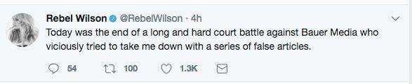 Wilson took to Twitter to comment on the decision. Source: Twitter
