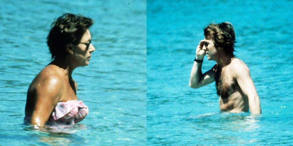 <p>Princess Margaret is photographed on holiday in Mustique in 1976 with her younger boyfriend, Roddy Llewellyn.</p>