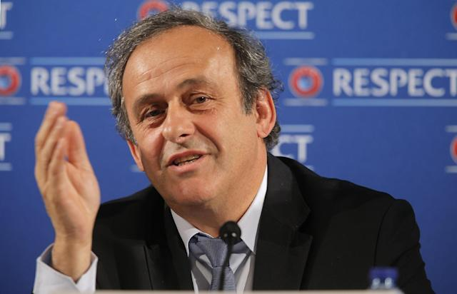 """FILE - In this Saturday, Feb 22, 2014 file photo UEFA President Michel Platini speaks during a press conference, one day prior to the UEFA EURO 2016 qualifying draw at the Acropolis Convention Centre in Nice, southeastern France. Seeking to bolster national team football amid the rampant success of club competitions, UEFA's 54 member countries voted Thursday to create the Nations League. UEFA boosted the new event by guaranteeing it would feed into qualifying for the 2020 European Championship. It could later be incorporated into European qualifying for the 2022 World Cup. """"This is a very important decision for the future of football at the level of national teams,"""" UEFA President Michel Platini said Thursday after the unanimous vote at European football's annual congress.. (AP Photo/Lionel Cironneau, File)"""
