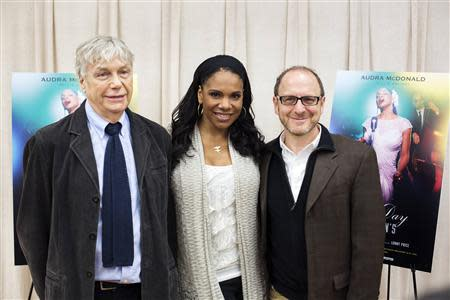 "Actress Audra McDonald stands with writer Lanie Robertson (L) and director Lonny Price (R) while promoting the play ""Lady Day at Emerson's Bar and Grill"" in New York March 17, 2014. REUTERS/Lucas Jackson"