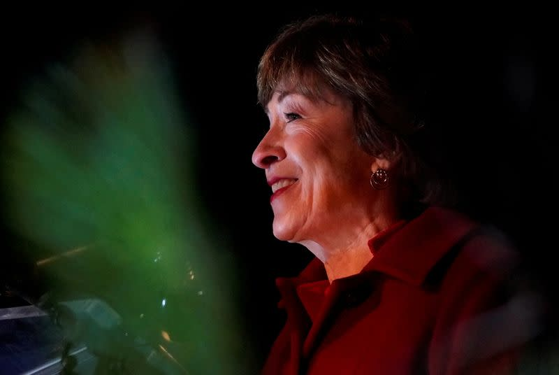 U.S. Senator Susan Collins (R-ME) speaks on stage during Election Day in Bangor, Maine