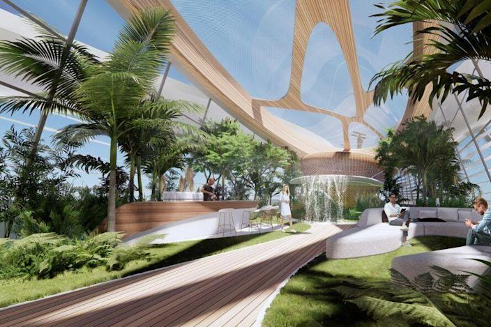 Nature-infused social lounge onboard 3deluxue's NFT superyacht VY.01