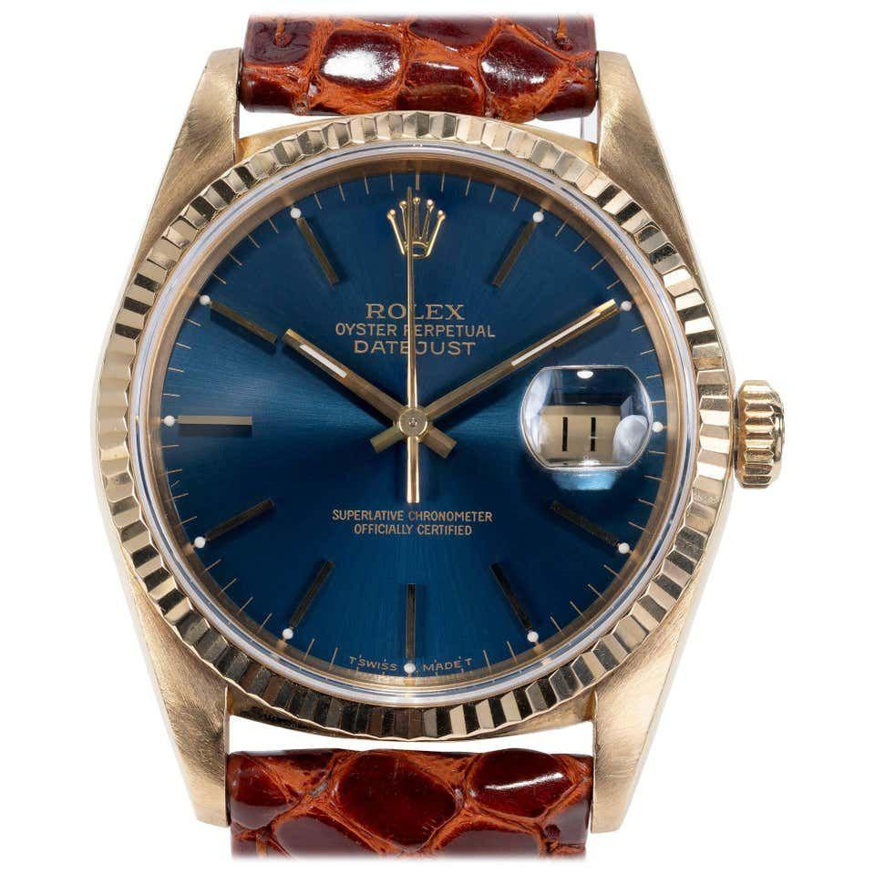 """<p><strong>Rolex</strong></p><p>1stdibs.com</p><p><strong>$10075.00</strong></p><p><a href=""""https://go.redirectingat.com?id=74968X1596630&url=https%3A%2F%2Fwww.1stdibs.com%2Fjewelry%2Fwatches%2Fwrist-watches%2Frolex-yellow-gold-datejust-blue-dial-wristwatch-ref-16238%2Fid-j_187324%2F&sref=https%3A%2F%2Fwww.townandcountrymag.com%2Fstyle%2Fcollectibles%2Fg34288980%2Fwhat-to-buy-1stdibs-fall-2020-sale%2F"""" rel=""""nofollow noopener"""" target=""""_blank"""" data-ylk=""""slk:Shop Now"""" class=""""link rapid-noclick-resp"""">Shop Now</a></p><p>The rich colors of this gold case, blue sapphire dial, and Italian alligator strap set off this 1990s Rolex perfectly.</p>"""